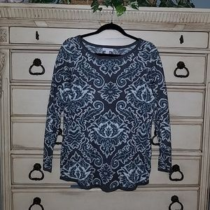 Charter Club gray w/ blue/white accents sweater
